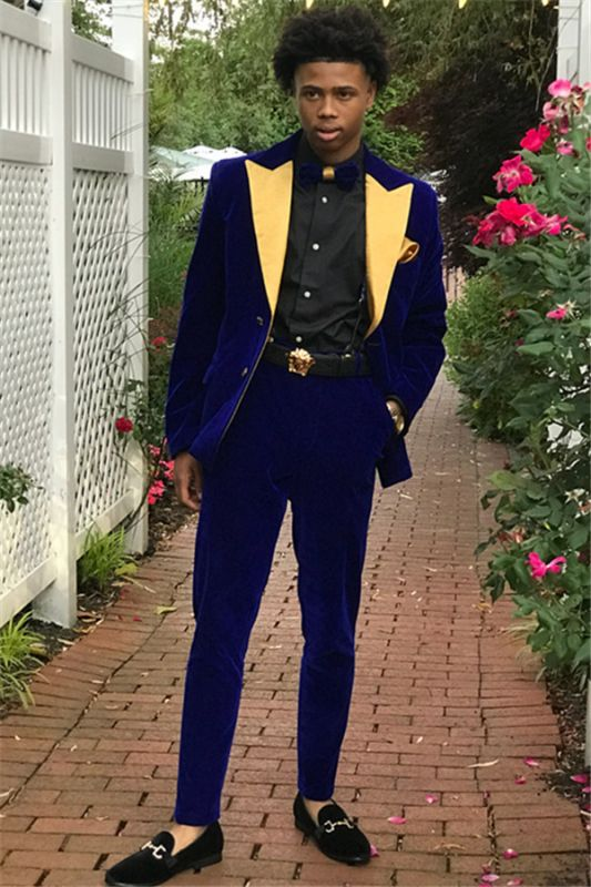 Royal Blue Slim Fit Velvet Men Suits | Custom Made 2 Pieces Prom Party Outfits