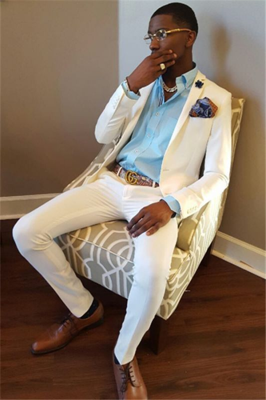 White Wedding Groom Suit | Two Piece Slim Men Suit