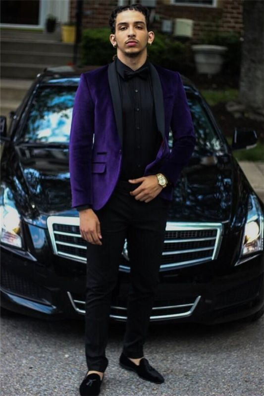 Purple Velvet Prom Party Suits | Two Piece Men Suit with Black Lapel