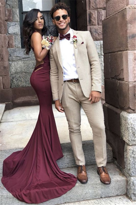Offwhite Wool Plaid Tailored Men Suit for Prom