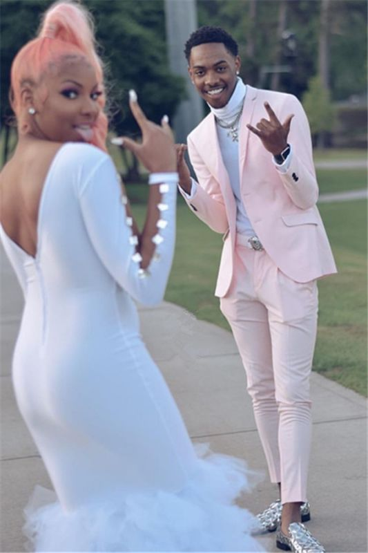 Handsome Pink Slim Fit Prom Men Suit for Boy