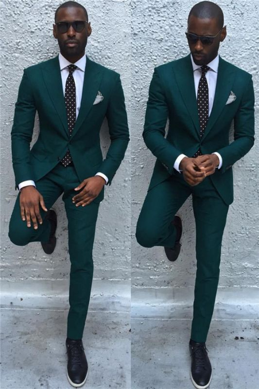 Dark Green Slim Fit Formal Mens Business Suit | New Arrival Peaked Laple Prom Suits