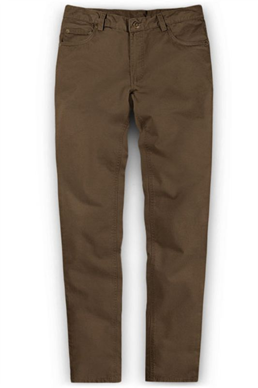 Brown Boyfriend Solid Color Zipper Fly Mens Pants