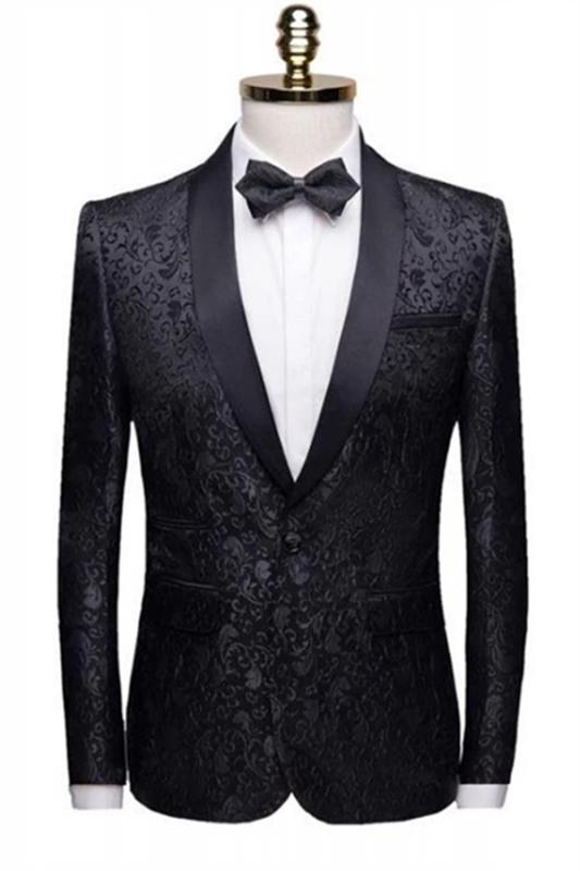 Black Jacquard Shawl Lapel Men Suits | Unique Slim Fit Two-Pieces Wedding Groom Tuexdos