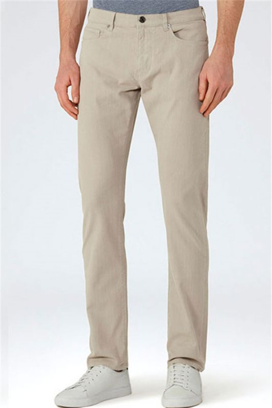 Khaki Cotton Casual Business Stretch Male Trousers