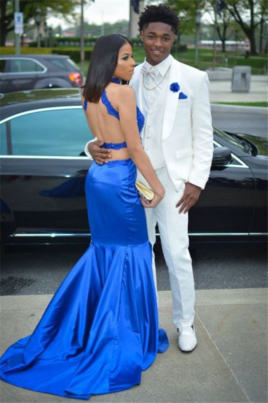Simple White Three-Piece Wedding Groom Suit | Shawl Lapel Prom Outfits