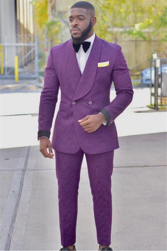 Fashion Purple Slim Fit Groom Tuxedos | Custom Made Jacquard Prom Outfits Suits