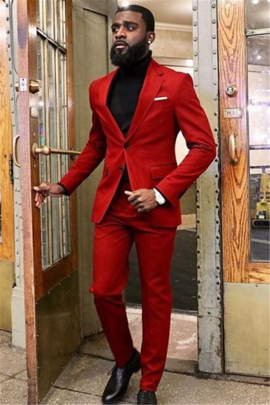 New Arrival Red Two Piece Slim Fit Prom Men Suit
