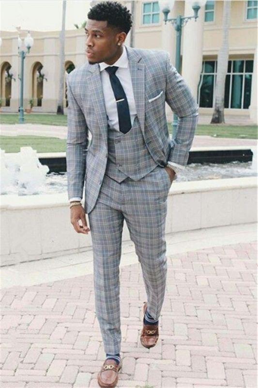 Fashion Grid Men Suits | Three-Piece Notch Lapel Slim Fit Prom Suit