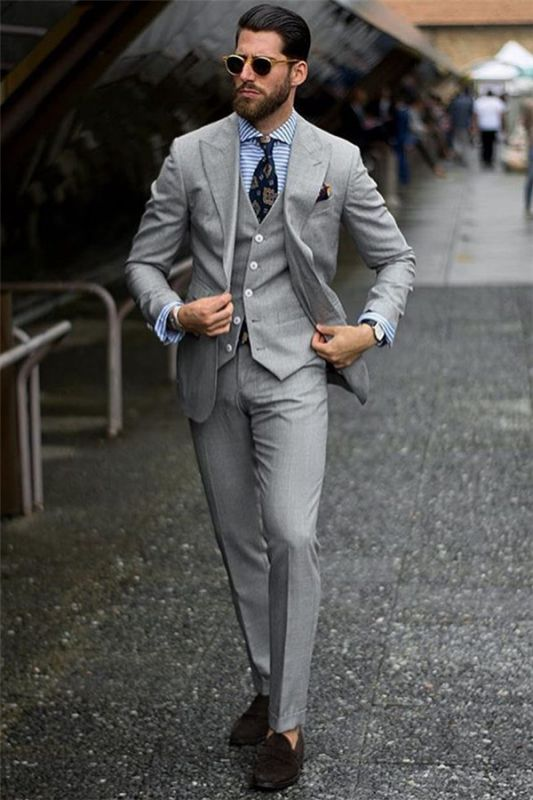 Bespoke Formal Mens Suits | Regular Grey Three-Piece Business Suits