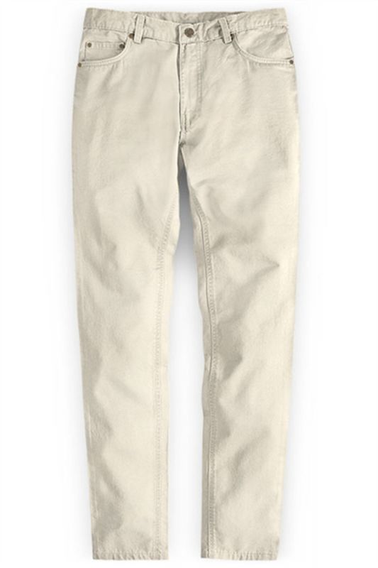 Cream High Quality Men Suit Pants with Zipper Fly