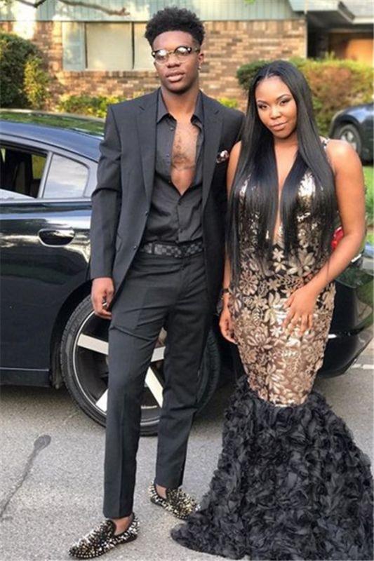 Handsome Black Two Piece Prom Suits | Slim Fit Men's Suit