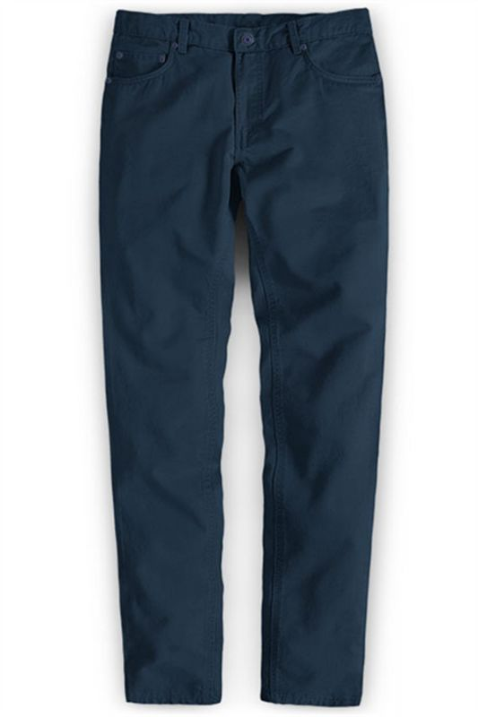 Navy Blue Male Business Pants with Zipper Fly