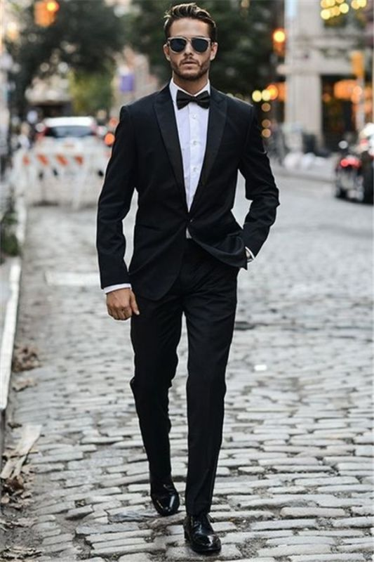 Black Business Mens Suits | Fashion One Button Wedding Suits Tuxedos