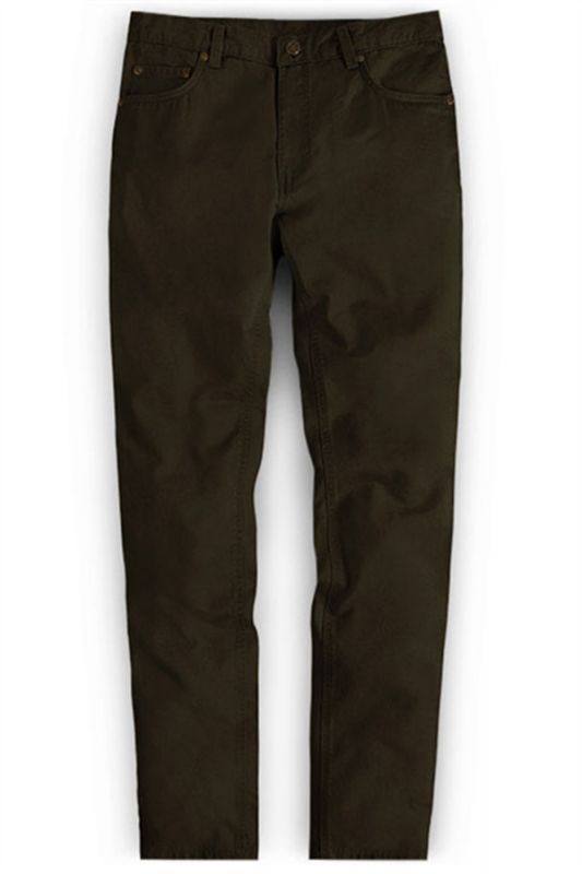 New Fashion Dark Brown Slim Straight Men Casual Pants