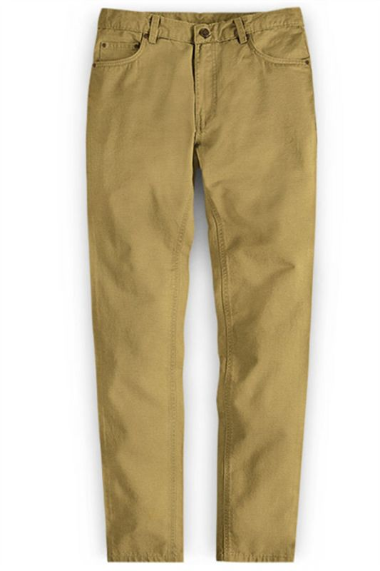 Gold Autumn Spring Man Pants Long Straight Loose Plus Size Pant