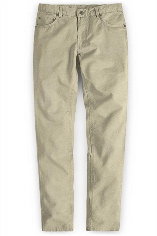 Khaki Men Trousers Casual Thin Elastic Waist Business Office Pants