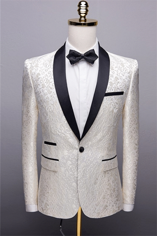 White Jacquard One Button Wedding Tuexdos | Black Shawl Lapel Men Suits (Jacket Pants)