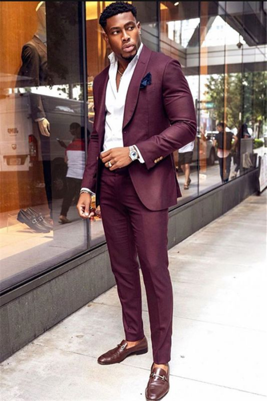 Stylish Burgundy Two-Pieces Men Suits | Shawl Lapel Bespoke Prom Outfit