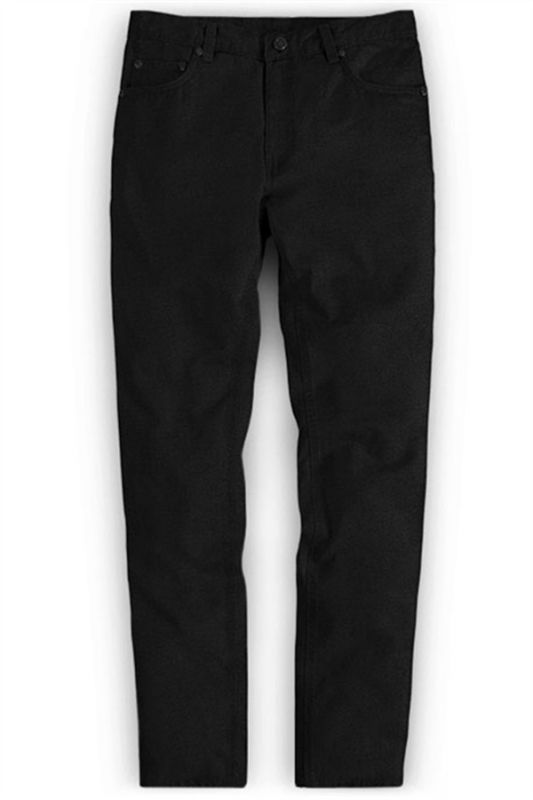 Thick Men Business Black Slacks with Zipper Fly
