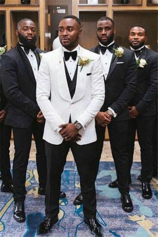 Owen Black Shawl Lapel Slim Fit Wedding Groomsuit Online