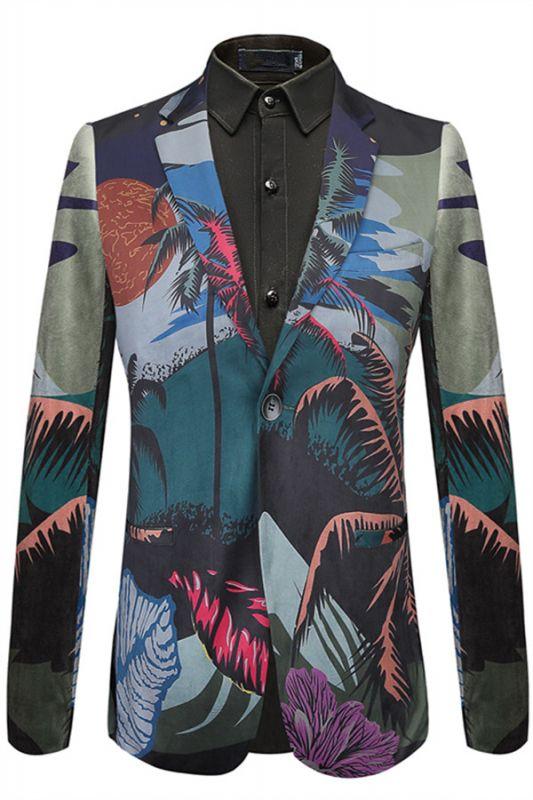 Angelo Summer Tree Printed Fashion Slim Fit Blazer Jacket