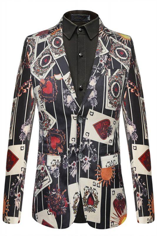 Fashion Playing Card Printed Slim Fit Boy Blazer Online