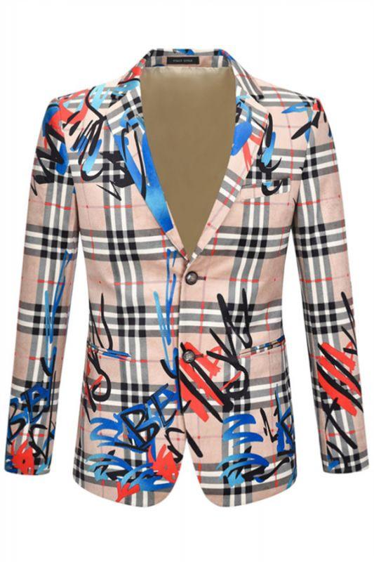 Nude Pink Velvet Letter Printed Stylish Casual Blazer Jacket for Men