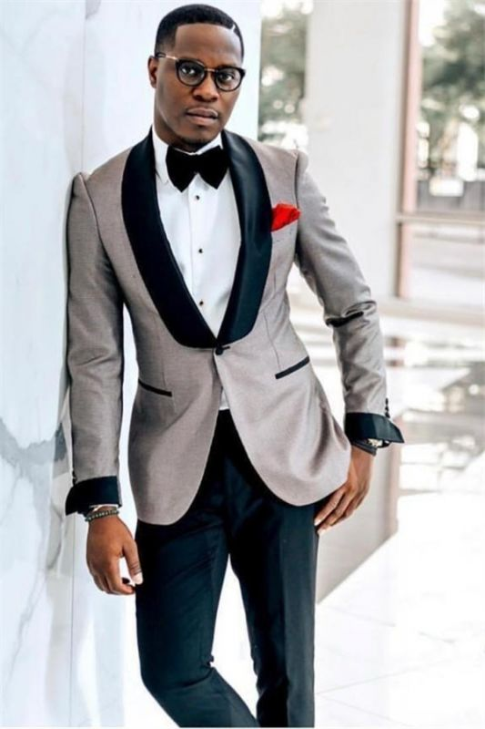 John Gray One Button Wedding Groom Mens Suit with Black Lapel