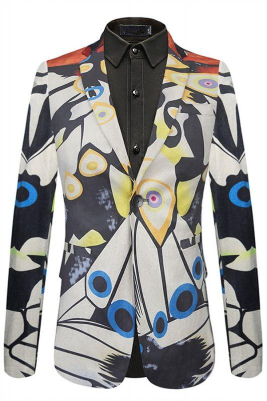 Angel Stylish Pattern Slim Fit One Button Notch Lapel Mens Blazer