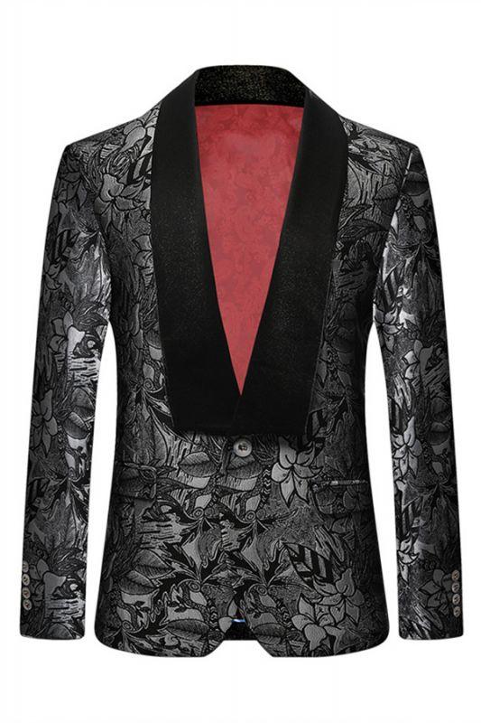 Black Jacquard One Button Shawl Lapel Blazer Jacket