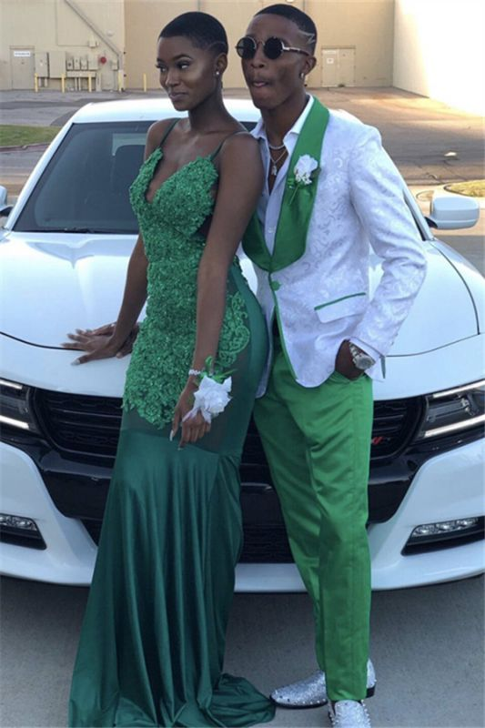 White Jacquard One Button Prom Outfits for Guy with Green Lapel