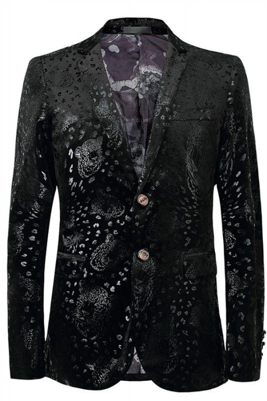 Justin Black Printed Stylish Slim Fit Blazer Jacket
