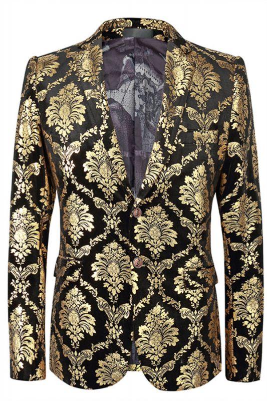 Grady Gold Jacquard Slim Fit Notch Lapel Mens Blazer