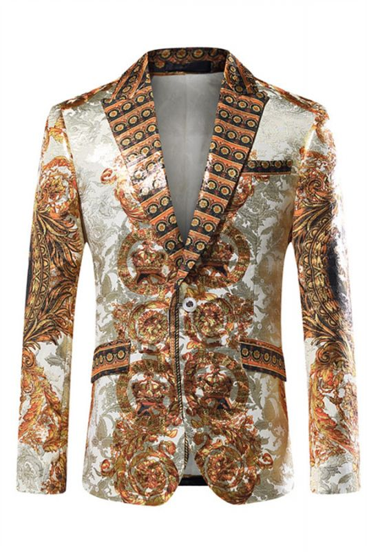 Silver Peaked Lapel Slim Fit Mens Blazer Jacket with Gold Pattern