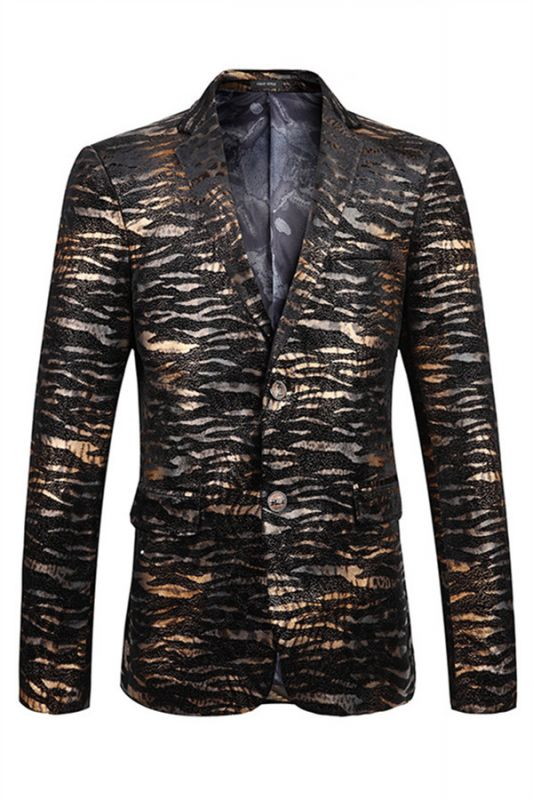 Hot Sale Leopard Print Slim Fit Notched Lapel Men Blazer