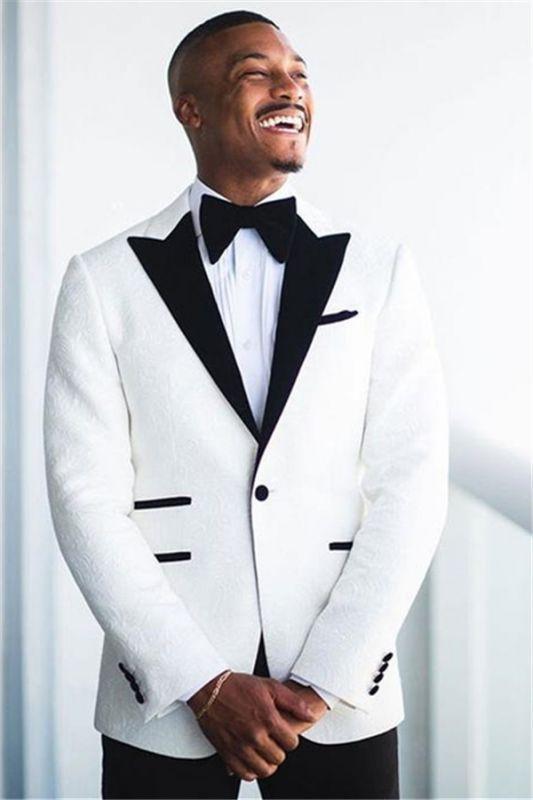 Jonathan White Jacquard Peaked Lapel Wedding Groom Suit