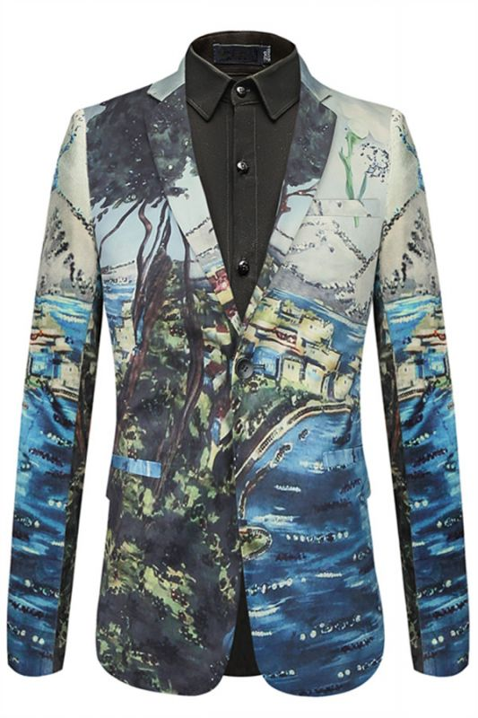 Soft Pleuche Slim Fit Pattern Pinted Fashion Blazer for Boy