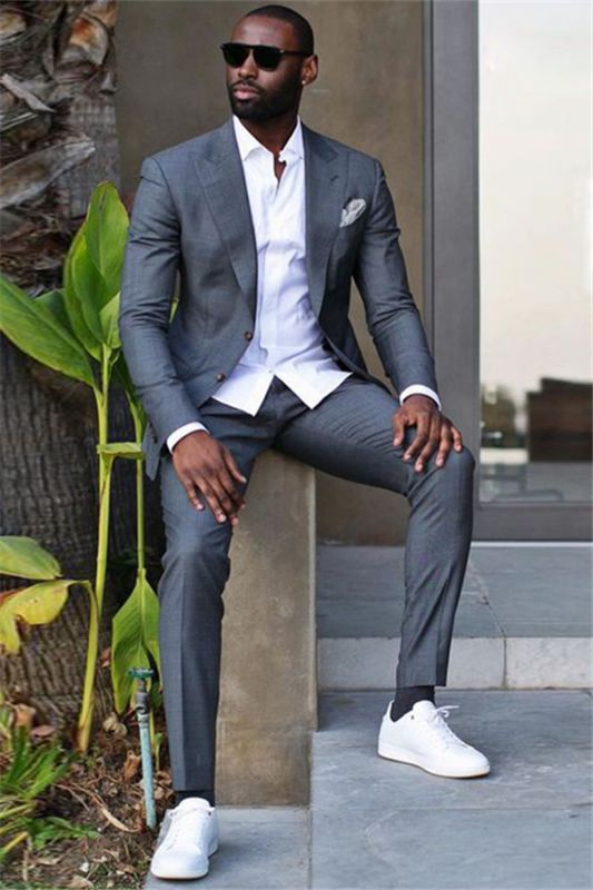 Caleb Dark Gray Peaked Lapel Slim Fit Stylish Formal Business Men Suit