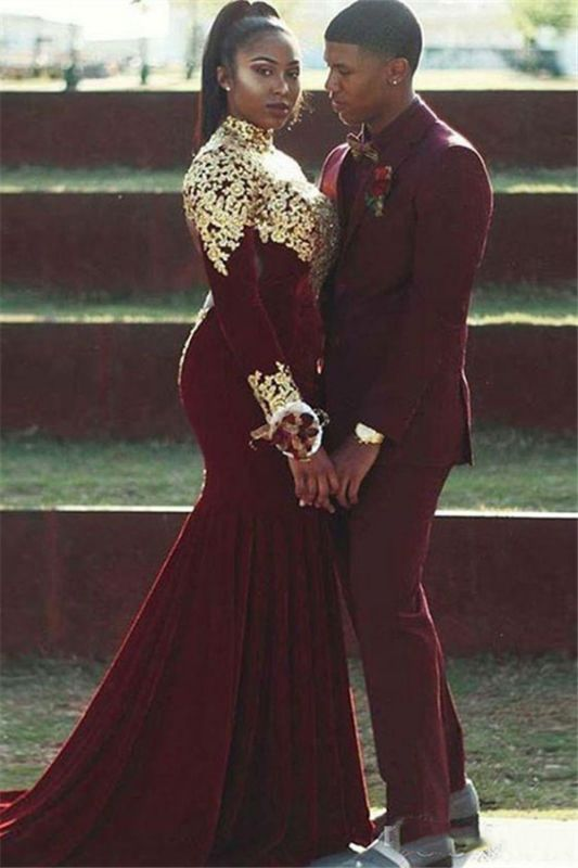 Gabriel Burgundy Slim Fit Notched Lapel Prom Outfits for Guys