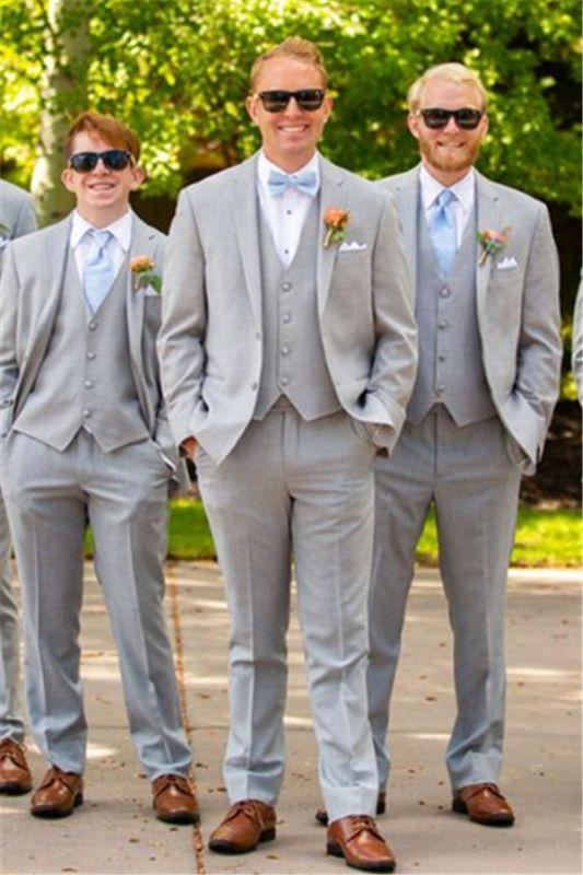 Light Grey Wedding Groomsmen Suits | Three Pieces Notched Lapel Men Suits