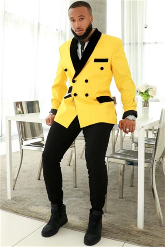 Stylish Yellow Double Breasted Slim Fit Mens Suits with Black Shawl