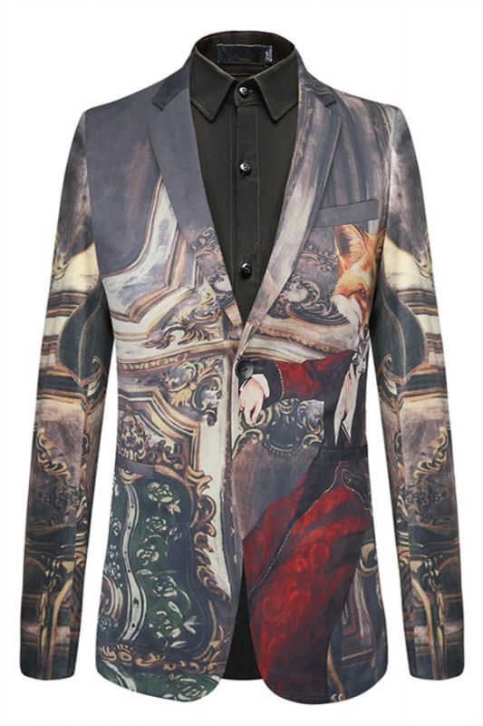 New Arrival Digitally Printed Fox Pattern Best Fitted Mens Blazer Online
