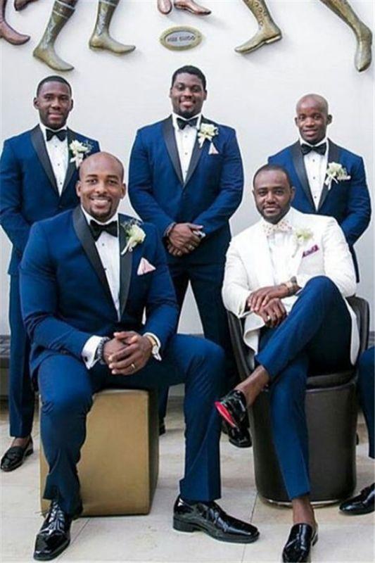 Cameron Navy Blue Slim Fit Black Shawl Groomsmen Suit