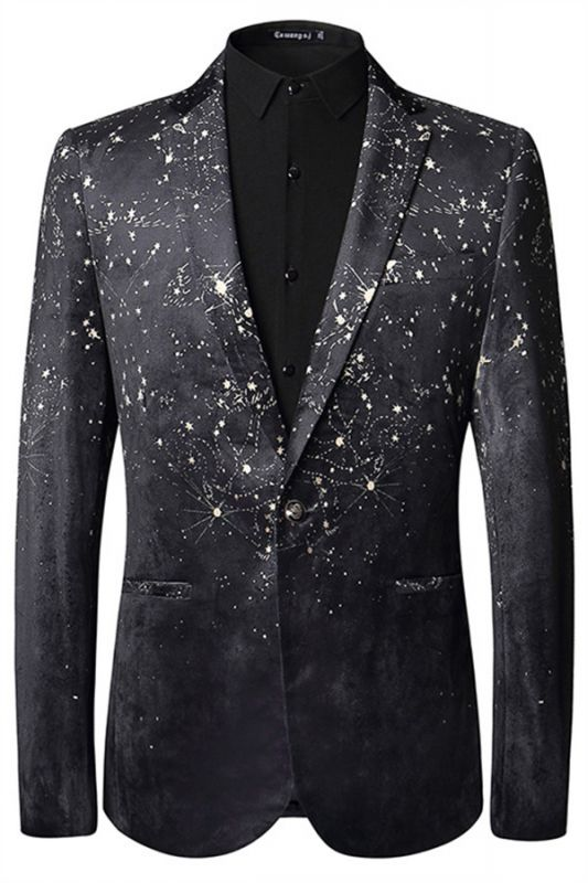 Dreaming Star Printed Black Soft Velvet Best Fitted Blazer for Men
