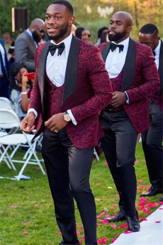 New Arrival Stylish Red Jacquard Three-Piece Shawl Lapel Wedding Groomsmen Suits Online