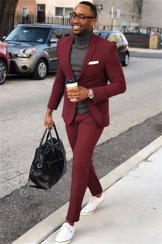 Burgundy One Button Men's Suit   Slim Fit Formal Business Suit