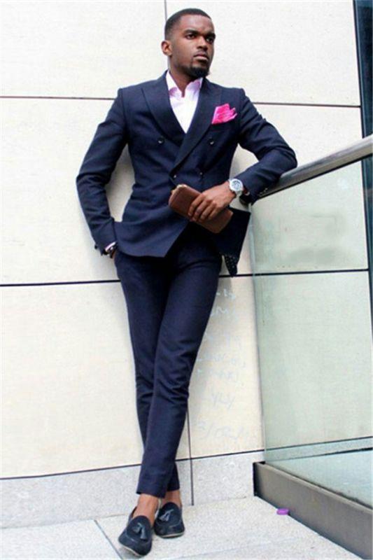 Dark Blue Double Breasted Peaked Lapel Slim Fit Formal Mens Suit