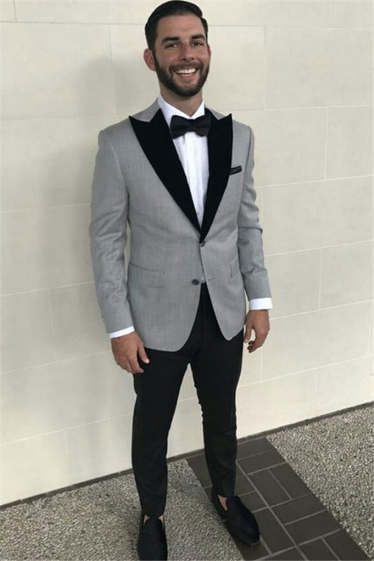 Formal Grey Slim Fit Business Mens Suits with Black Peaked Lapel