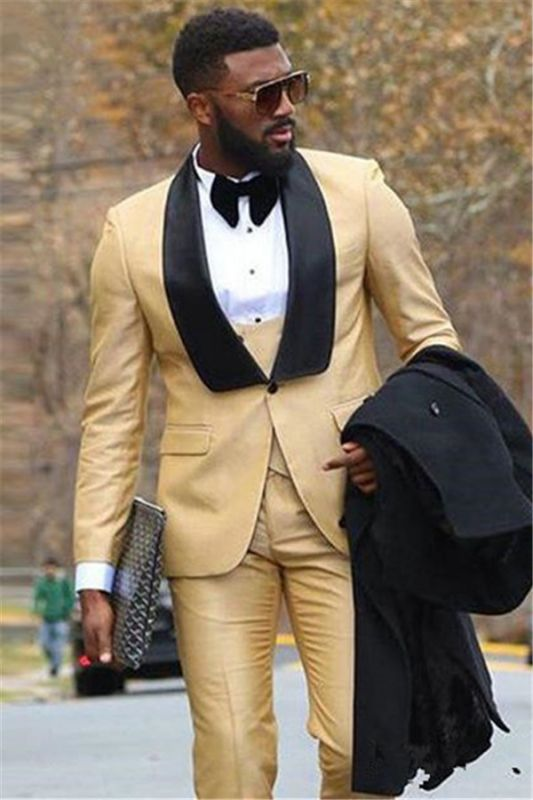 Champagne Three Piece Formal Business Men Suit with Black Lapel
